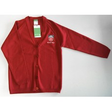 Moorfield Red Knitted Cardigan with School Logo