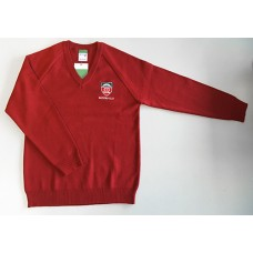 Moorfield Red Knitted Boys V Neck Jumper with School Logo